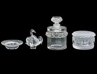 4 Pcs. Lalique Crystal w/ Birds & Swans