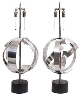 Pr. Mid-Century Stainless Steel Sphere Lamps