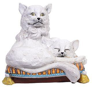 Italian Vintage Ceramic Cat Sculpture