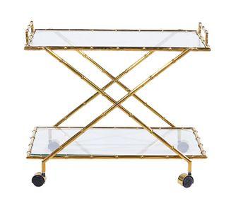 Italian Glass & Brass Bamboo Bar Cart