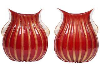 Pr. Pino Signoretto Murano Red & Gold Glass Vases