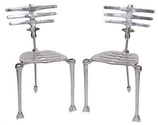 Pair Michael Aram Aluminum 'Skeleton' Chairs