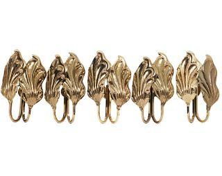 Set of Five Italian Brass Leaf Sconces