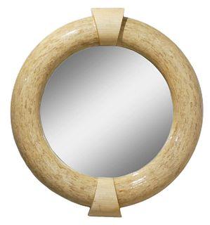 Karl Springer Mid-Century Tesselated Round Mirror