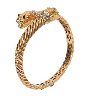 Leopard Head 18K YG Bangle w/ Diamonds, Rubies