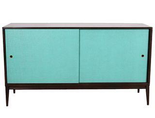 Paul McCobb Turquoise Sliding Door Credenza