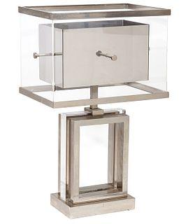 Chrome & Lucite Table Italian Lamp Romeo Rega