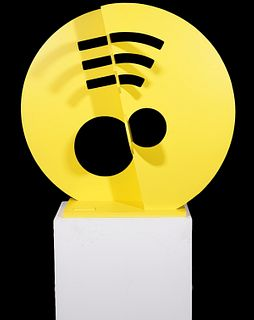 Large Jay Lefkowitz Yellow Metal Sculpture