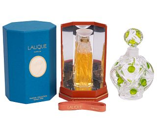2 Lalique Perfume Bottles 1 Unopened in Box