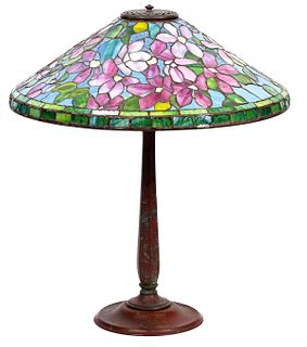 Signed Tiffany Studios Art Glass Table Lamp
