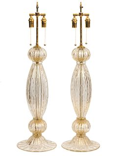 Pr. Large Murano Glass Champagne Color Table Lamps