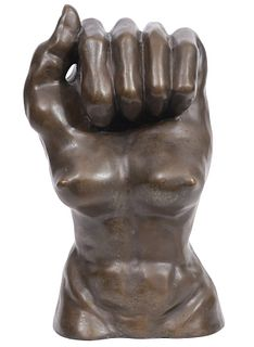 Mid-Century Surreal Bronze Statue of Torso & Fist