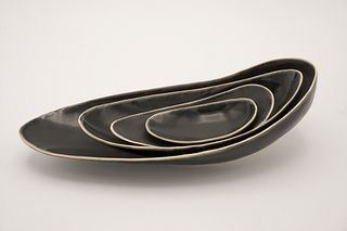 Small Cut Rim Oval Black Nest