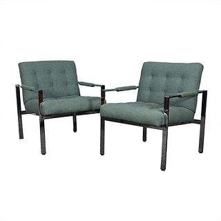 Pair of Milo Baughman Chrome & Upholstered Chairs