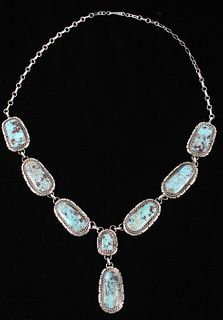 Navajo B. Lee Apache Turquoise & Sterling Necklace