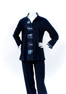 Black Swing Jacket With Hand Dyed Trim