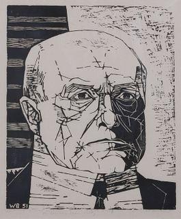 Walter William Barker (American, 1921-2004) Portrait of Max Beckmann, 1951