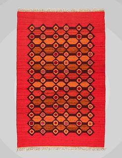 Polish Mid 20th Century Modernist Flatweave Rug