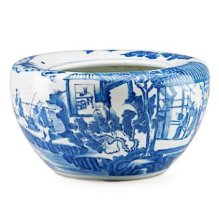 CHINESE BLUE AND WHITE PORCELAIN ALMS BOWL
