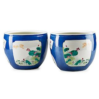 PAIR OF CHINESE POWDER BLUE PORCELAIN CACHE POTS
