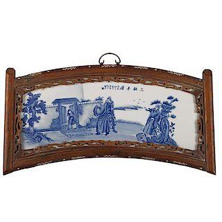 CHINESE BLUE AND WHITE PORCELAIN FRAMED PANEL