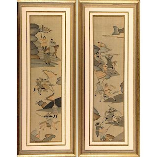 PAIR OF ASIAN HAND PAINTED SILK WALL HANGINGS