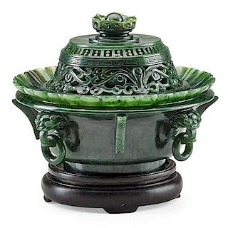 MUGHAL STYLE SPINACH JADE COVERED CENSER