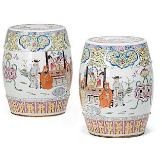 PAIR OF CHINESE PORCELAIN GARDEN SEATS