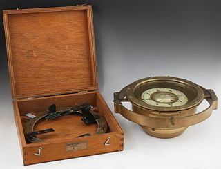 Two Ship's Compasses, one an azimuth circle, by E. S. Ritchie and Sons, Brookline, MA, made for Sperry Gyroscope Co., Brooklyn, N.Y....