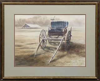 "William Stracener (Louisiana), ""Buckboard in a Field,"" 20th c., watercolor, signed lower left, presented in a gilt and walnut frame,..."