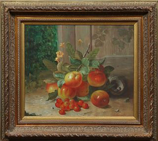 "After Van Morrison, ""Still Life of Flowers and Fruit,, 20th c., oil on canvas, signed lower right, presented in an ornate giltwood a..."