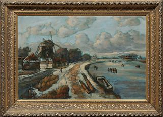 "Dutch School, ""Skaters on the Ice Near a Windmill,"" early 20th c., oil on canvas, signed indistinctly lower left, presented in a wid..."
