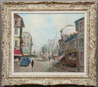"Th. V. Dorshot (Dutch), ""French Street Scene,"" 20th c., signed lower right, presented in a whitewashed gilt and gesso frame, H.- 19..."