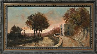 "Scarpellio, ""Landway,"" 20th c., oil on canvas, signed lower right, titled verso on a label for ""Visual Arts, Dallas, Texas,"