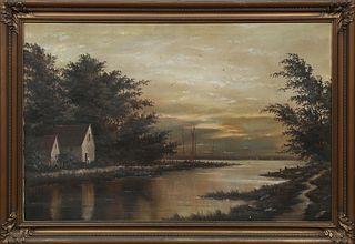 "American School, ""Sailboats on the Lake at Dusk,"" 19th c., oil on canvas, presented in a period gilt and gesso frame, H.- 23 1/2 in...."