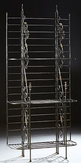 French Style Cast Iron and Brass Baker's Rack, 20th c., with three rounded slatted shelves, on scrolled supports to cylindrical legs...