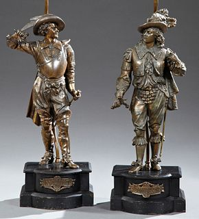 Pair of Large Copper Plated Spelter Figures, late 19th c., of Don Caesar and Don Juan, on shaped stepped iron bases, now mounted as...