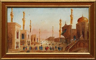 """Arabic School, """"Middle Eastern City Scene,"""" 19th c., oil on canvas, verso signed """"Claude,"""" with a canvas stamp from A. Rayner, Londo..."""