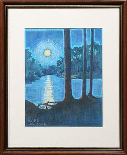 """Terry Blake Edwards (Mississippi), """"Moonlight Swamp Scene,"""" 20th c., pastel on canvas, signed lower left, presented in a gilt and ma..."""