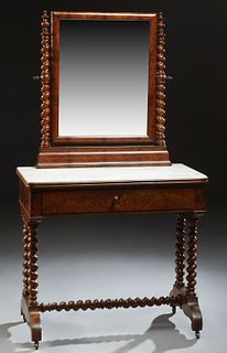 French Carved Mahogany Marble Top Dressing Table, c. 1970, the rectangular rounded corner mirror on rope twist supports, on a dished...
