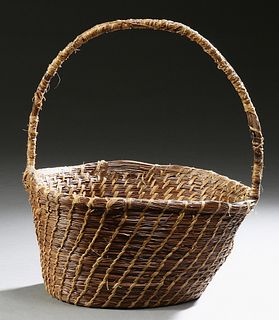 Large Coushatta Indian Woven Pine Straw Handled Market Basket, 20th c., H.- 16 in., Dia.- 13 1/4 in.
