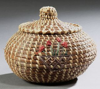 Coushatta Indian Covered Pine Straw Basket with applied flower decoration, 20th c., by Sylvestine, H.- 6 in., Dia.- 7 in.