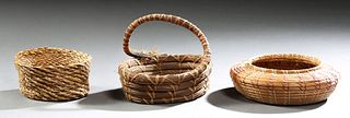 Group of Three Indian Woven Pine Straw Baskets, consisting of an unfinished basket with a leather bottom, a baluster bowl; and a coa...