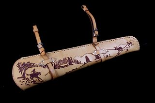 20th C. Hand Tooled Saddle Slung Rifle Scabbard