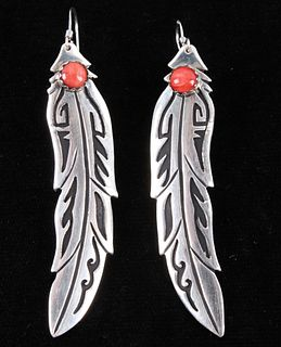 Navajo T&R Singer Sterling & Coral Feather Earring