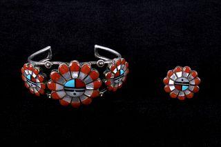 Zuni Intricate Inlaid Sunface Silver Cuff & Ring