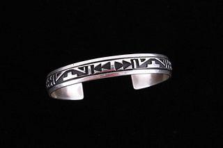 Navajo T&R Singer Stamped Sterling Silver Bracelet