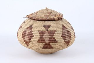 Papago Indian Hand Woven Basket c. 1940's-50's