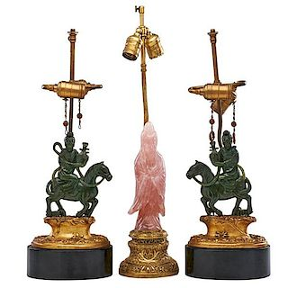 CHINESE HARDSTONE LAMPS