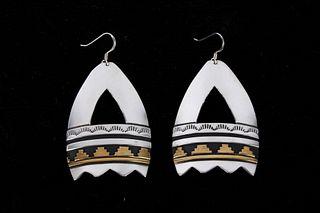 Navajo T&R Singer Sterling & 14K Gold Earrings